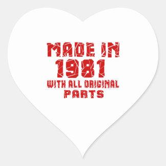 Hecho en 1981 con todas las piezas originales pegatina en forma de corazón