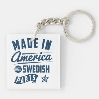 Hecho en América con las piezas suecas Llavero Cuadrado Acrílico A Doble Cara