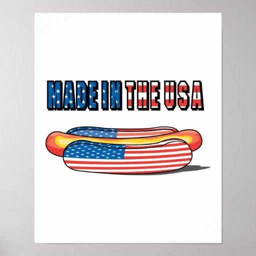 Hecho en el perrito caliente patriótico de los E.E Poster