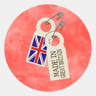 Hecho en Gran Bretaña Pegatina Redonda