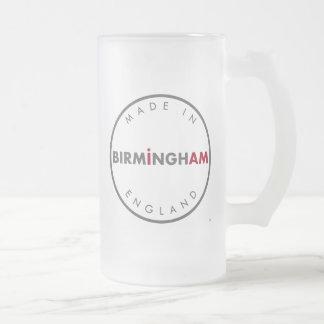Hecho en taza del vidrio esmerilado de Birmingham