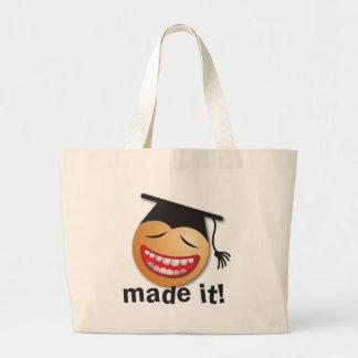 hecho le la graduación bolsas lienzo