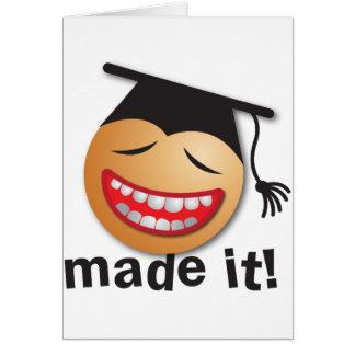 hecho le la graduación tarjeta de felicitación