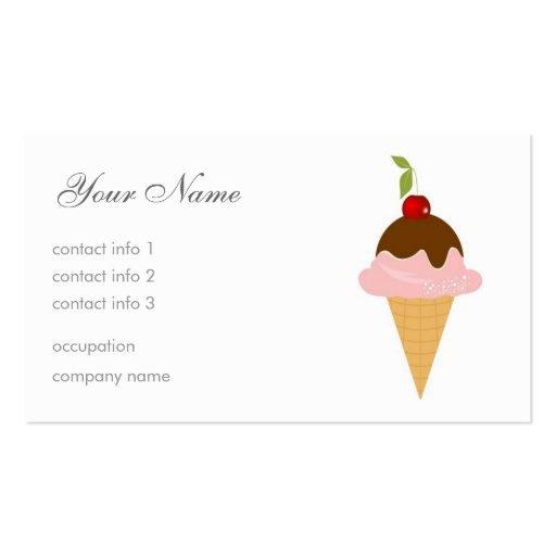 Helado - cereza y chocolate tarjeta de visita