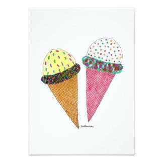 Helado colorido lindo del cumpleaños invitación 12,7 x 17,8 cm