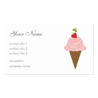 Helado de fresa tarjetas de visita