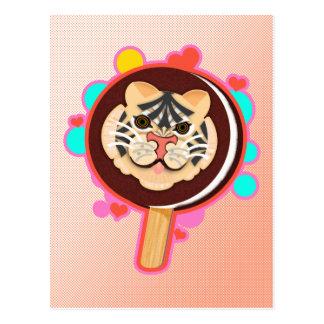 Helado del helado del tigre del safari en un postal