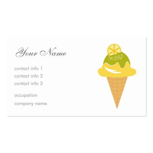 Helado del limón - limón y vainilla tarjeta de negocio