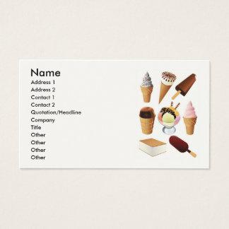 Helado, nombre, dirección 1, dirección 2, tarjeta de negocios