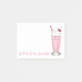 Helado personalizado Milkshake rosado de la fresa Notas Post-it®