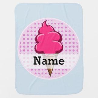Helado personalizado rosa lindo para los chicas mantita para bebé