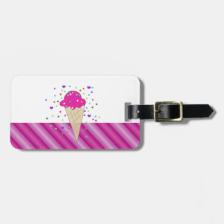 Helado rosado del confeti etiquetas para maletas