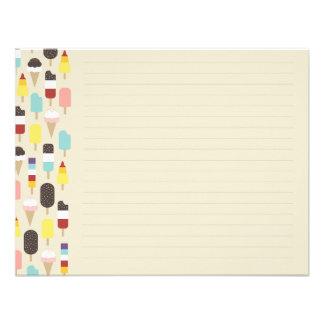 Helado y tarjeta de nota plana congelada de las in comunicado personal
