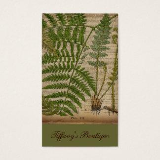 helecho botánico francés de la impresión del tarjeta de visita