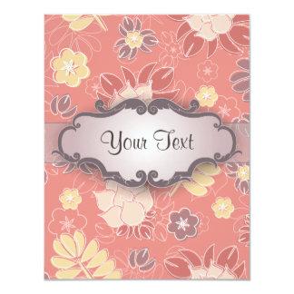 Helecho floral en rosa con el letrero invitacion personal