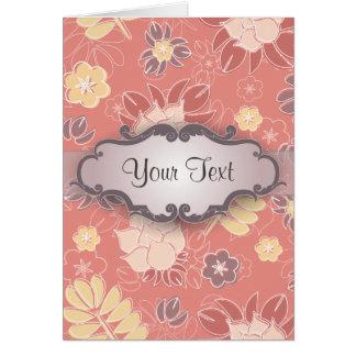 Helecho floral en rosa con el letrero tarjeta pequeña