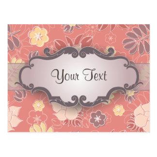 Helecho floral en rosa con el letrero postal