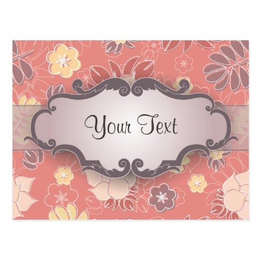 Helecho floral en rosa con el letrero postales