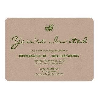 Helecho verde tropical minimalista invitación 12,7 x 17,8 cm