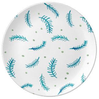 """Helechos pintados 10,75"""" placa de la porcelana plato de cerámica"""