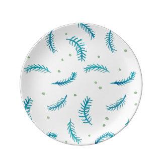 """Helechos pintados 8,5"""" placa de la porcelana platos de cerámica"""