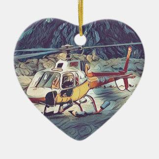 Helicóptero artístico fresco adorno navideño de cerámica en forma de corazón