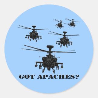 Helicóptero impresionante de Apache Etiqueta Redonda