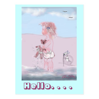 Hello - dulzura pequeña + Osito postkarte Postal