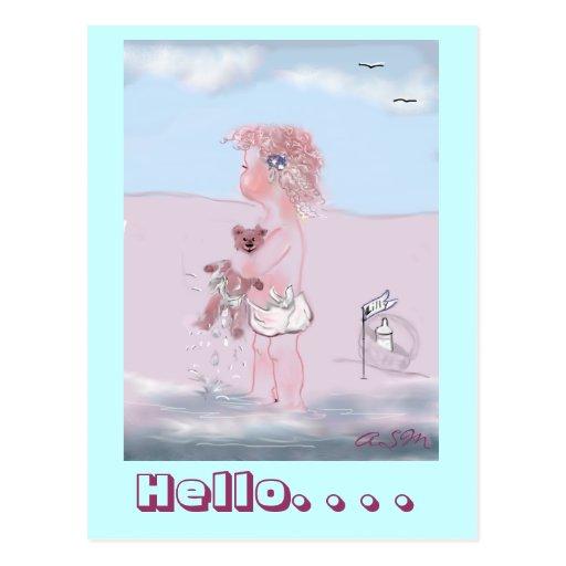 Hello - dulzura pequeña + Osito postkarte Tarjetas Postales