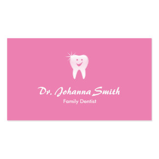 Hembra dental sonriente brillante rosada de la tarjetas de visita