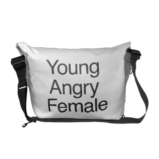 Hembra enojada joven bolsas messenger