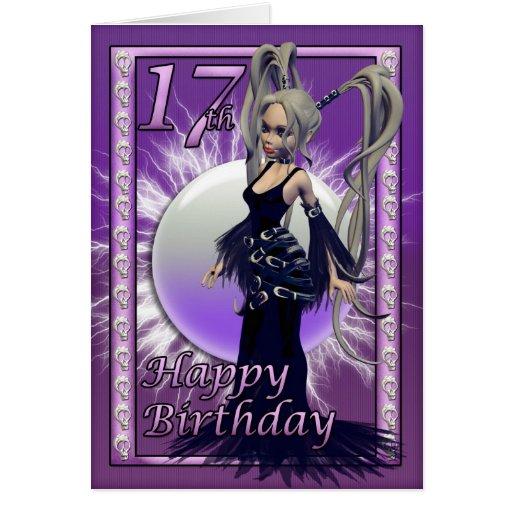 Hembra gótica de la muñeca del 17mo cumpleaños fel tarjeta