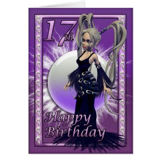 Hembra gótica de la muñeca del 17mo cumpleaños tarjeta
