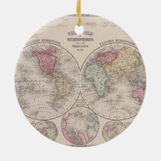 Hemisferios del este y occidentales del mundo 1860 adorno de cerámica