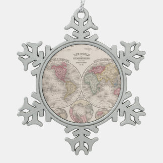 Hemisferios del este y occidentales del mundo 1860 adorno de peltre tipo copo de nieve