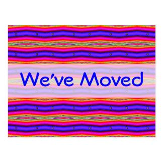 Hemos movido el azul rosado brillante postal