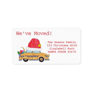 Hemos movido el taxi amarillo del navidad etiquetas de dirección