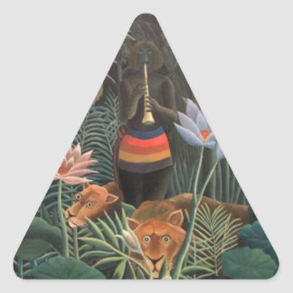 Henri Rousseau la selva del sueño florece la Pegatina Triangular