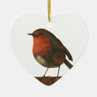 Herald del invierno adorno navideño de cerámica en forma de corazón