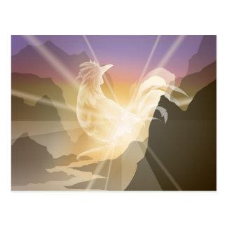 Heraldo de la luz - gallo de la salida del sol postal