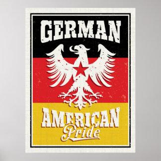 Herencia americana alemana Eagle y bandera Póster