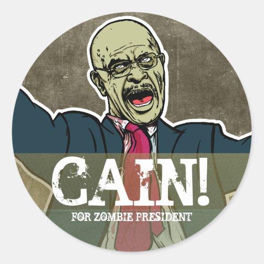 Herman Caín para presidente Sticker del zombi Pegatina Redonda