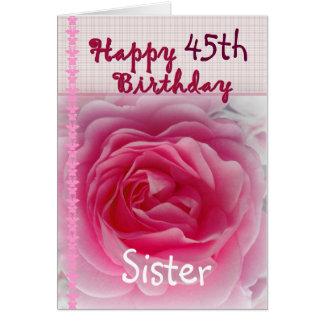 HERMANA - 45.o cumpleaños feliz - color de rosa Tarjeta De Felicitación