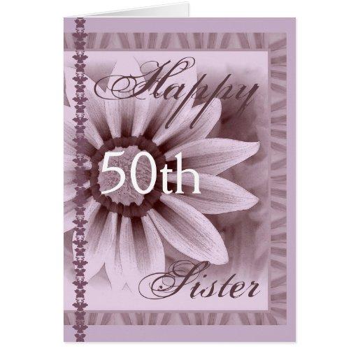HERMANA - 50.o cumpleaños feliz - flor de la LAVAN Tarjeta