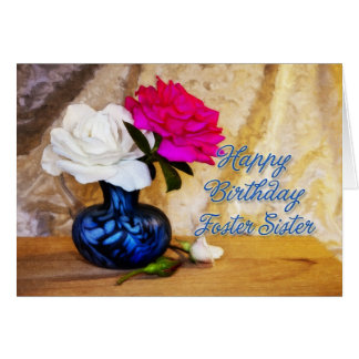 Hermana adoptiva, feliz cumpleaños con los rosas p tarjeta