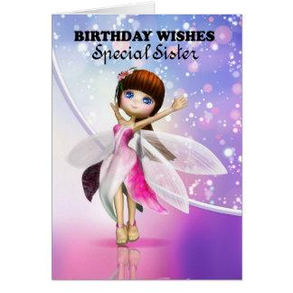 Hermana, baile de hadas lindo del feliz cumpleaños tarjeta de felicitación