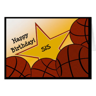 ¡Hermana - baloncesto del feliz cumpleaños que ama Tarjeta De Felicitación