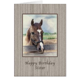 Hermana, cumpleaños, caballo de Brown con el freno Felicitaciones