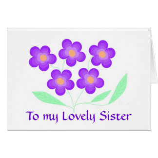 Hermana de la tarjeta de cumpleaños de la flor