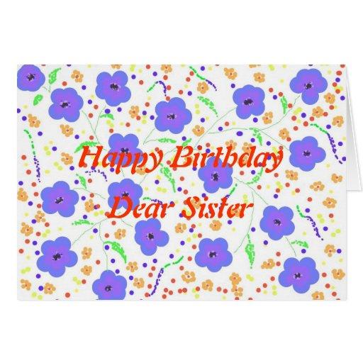 Hermana de la tarjeta del feliz cumpleaños